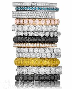 Be playful with diamonds. Try stacking colored diamond bands for fun or pair them with your engagement ring to fit your mood. Rings by Henri Daussi. Stackable Wedding Bands, Diamond Wedding Rings, Diamond Bands, Gold Bands, Stacking Rings, Stackable Bands, Dream Engagement Rings, All I Ever Wanted, Dream Ring