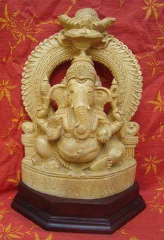 White wooden Ganesh Statue