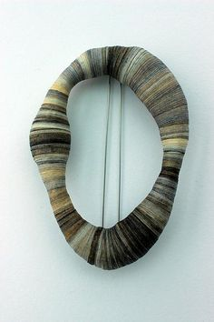 rachel blair jewellery | Bound - Bound oval brooch - white metal, copper & ink stained tapes