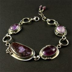 charoite and amethyst bracelets