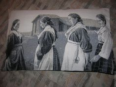Купить Гобеленовая наволочка Юноши и Девушки - чёрно-белый, наволочка, подушка, на подушку, интерьер комнаты