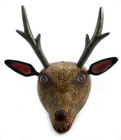 Wood mask, 'Yellow Maya Deer' by NOVICA