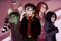 teen titans original raven and beast boy Robin Starfire, Teen Titans Starfire, Teen Titans Robin, Teen Titans Fanart, Teen Titans Go, Beast Boy, Young Justice, Cn Fanart, Raven Fanart