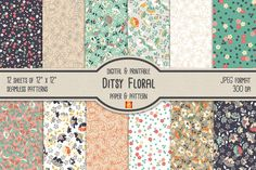 Ditsy Floral Digital Paper & Pattern