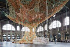 Image 3 of 6 from gallery of Brazilian Artist Ernesto Neto Creates Giant Installation in Zurich's Central Station. Photograph by Mark Niedermann Zurich, Gaia, Street Installation, Textile Sculpture, Textile Art, Giant Tree, Colossal Art, Yarn Bombing, Interior Design Magazine