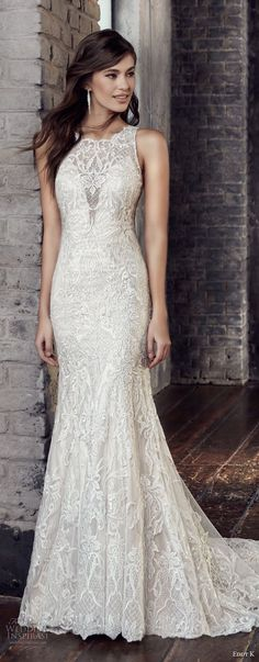 eddy k 2018 bridal sleeveless jewel neck full embellishment elegant fit and flare wedding dress covered lace back chapel train (206) mv -- Eddy K. Couture 2018 Wedding Dresses
