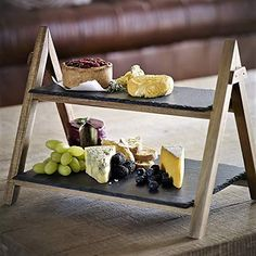 Attractive natural slate and wood serving stand. Lovely way to present food. Ideal cake stand for afternoon teas. Food Serving Trays, Food Platters, Serving Board, Afternoon Tea Stand, 2 Tier Cake Stand, Wooden Food, Appetizer Dishes, Wood Cake, Food Stands