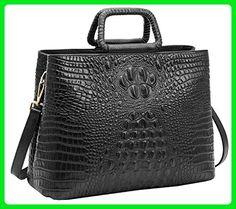 Heshe Vintage Women Leather Crocodile Totes Bags Top Handle Handbags Designer Purse Shoulder Bag Satchel Cross Body Handbag for Office Ladies (Black) - Top handle bags (*Amazon Partner-Link)