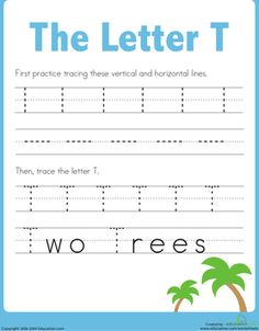 Practice Tracing the Letter T Worksheet @Education.com