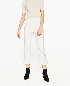 Image 2 of CROPPED TROUSERS WITH FRILL from Zara