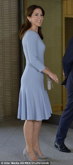 Princess in pastel: She wore a soft blue dress that fell just below the knee to meet with Emperor Akihito and Empress Michiko in Japan in March