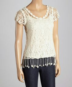 Look what I found on #zulily! Natural Sheer Lace Overlay Scoop Neck Top - Women by Reyna #zulilyfinds