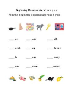 Kindergarten Reading Beginning Consonants Letters B C D F G H J