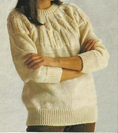 Ladies Chunky Yoked Sweater. by Maggie Andrews A BEAUTIFUL LADIES SWEATER WITH A CIRCULAR YOKE EMBOSSED WITH SHADOW LACE AND MOCK CABLES. KNITTED ON THE CHUNKY MACHINE WITH RIBBER. KNITTED WITH U.K. DOUBLE KNITTING YARN TO SUIT BUST 34, 36, 38, 40 INCHES. For knitters with a little experience.