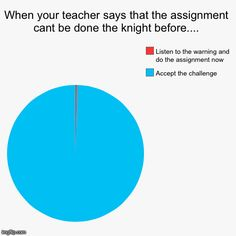 When your teacher says that the assignment cant be done the knight before.... | Accept the challenge  , Listen to the warning and do the ass | image tagged in funny,pie charts | made w/ Imgflip pie chart maker