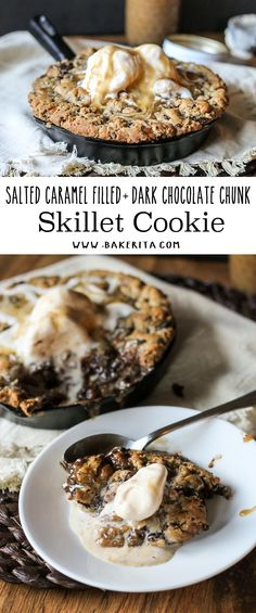 This Salted Caramel Filled Dark Chocolate Chunk Skillet Cookie