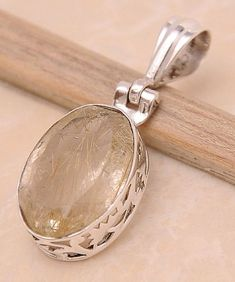 """Golden Rutile .925 Sterling Silver Jewelry Pendant 1.4"""""""