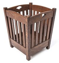"""Stickley Brothers Waste Basket with cutout handles and five slats on each side. 18"""" H. x 14"""" W. x 14"""" D."""