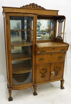 Victorian Oak China-Buffet, Antique Dining Room Furniture, Buffet China Closet Combination, Up the Creek Antiques