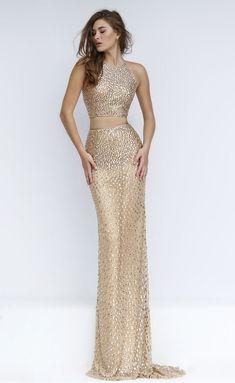 brilliant beaded crew neck sheath long two piece gold prom dress