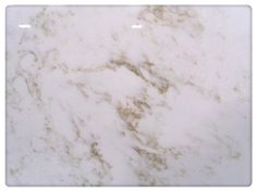 "Closeup on ""Calcutta Gold"" quartz counter top from QUARTZ MASTERS, available at Fiorano Tile Showrooms and Country Tile by Fiorano~...Has soft white with golden veining color, 120x63, available in 3cm only"