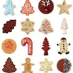 25 biscuits pour patienter jusqu'à Noël—Avec deux recettes de pâte de biscuits, quatre variantes, une glace royale et quelques ajouts, on confectionne 25 biscuits différents… On en croque un par jour, comme un calendrier de l'avent!