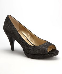 Look at this Black Mylah Peep-Toe Pump on #zulily today!