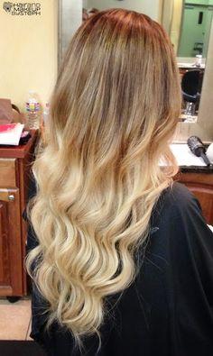wavy blonde dip dye hair | dip dye, blonde, wavy, curly hair