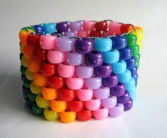 Super Rainbow Kandi Cuff! My daughter is on a rainbow kick thanks to Rainbow dash
