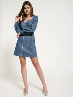 Buy Missguided Blue Zip-Up Bustier Denim Dress for Women Online in India Blue Denim Dress, Womens Denim Dress, Denim Skirt, Denim Dresses Online, Online Dress Shopping, Missguided, Zip Ups, India, Street Style