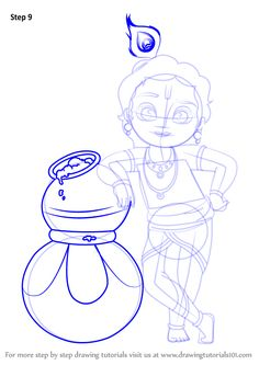 Learn How to Draw Bal Krishna (Hinduism) Step by Step : Drawing Tutorials