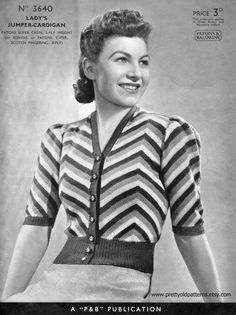 """Amazing Striped Sweater Blouse Cardigan 33"""" Bust Petite Patons 3640 Vintage 1930s Knitting Pattern Download"""