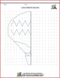 Line Symmetry Picture Balloon, free geometry worksheet