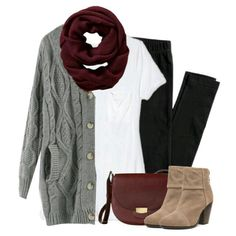 Gray cardigan, burgundy scarf with leggings clothes/outfits Mode Outfits, Casual Outfits, Fashion Outfits, Womens Fashion, School Outfits, Dress Casual, Fashion Shoes, Fall Winter Outfits, Autumn Winter Fashion