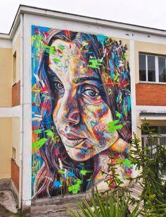 Street Art by David Walker David Walker is a London-based artist who creates color-explosive portraits using spray paint in the form of street art. His portraiture is Best Street Art, Amazing Street Art, Amazing Art, Walker Art, David Walker, Train Art, Art Corner, Art Archive, Street Art Graffiti