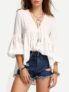 Shop White V Neck High Low Pleated Blouse online. SheIn offers White V Neck High Low Pleated Blouse & more to fit your fashionable needs.