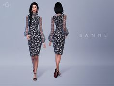 This black and white daisy-print crepe dress is cut to a sleeveless, midi-length silhouette, and detailed with a gossamer-fine pussy-bow blouse underneath. Found in TSR Category 'Sims 4 Female...