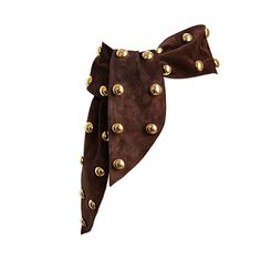 YVES SAINT LAURENT brown suede belt with oversized gold studs