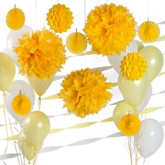 Yellow and White Decor Kit for Baby Showers $24.99 | Baby Shower Decoration Ideas