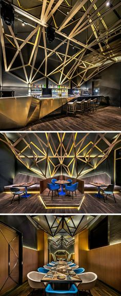 Inside this modern hotel restaurant, a dramatic high ceiling with exposed metal & wood trusses is lit up with hidden lighting, creating a striking appearance for guests of the hotel. #RestaurantDesign #Bar #InteriorDesign