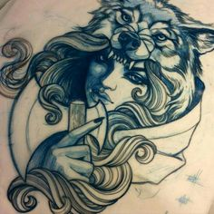 Beautiful wolf-woman #wolf #woman #tattoo #design