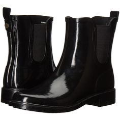 Tory Burch Stormy Rain Bootie (Black) Women's Rain Boots ($198) ❤ liked on Polyvore featuring shoes, boots, ankle booties, rain boots, short black boots, black bootie, black rain boots and rubber boots