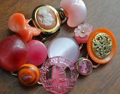 Whimsical Vintage Junk Bracelet  pink orange   gum by junkiejools