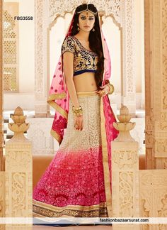 Designer Charming Cream And Pink A Line Lehenga Choli