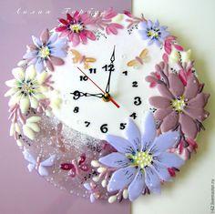 Купить часы из стекла, фьюзинг Моим ангелочкам - Фьюзинг, стекло, часы фьюзинг, часы стеклянные
