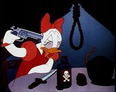 Suicide Daisy from Donald's Dilemma! This breaks all of the rules for an animated short. Look at all of those instruments of death. Nowadays this would be rated PG for attempted violence!