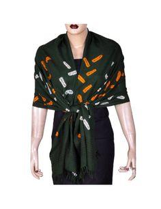 Longue écharpe en laine - Etole verte imprimée pour femmes: Amazon.fr: Vêtements et accessoires
