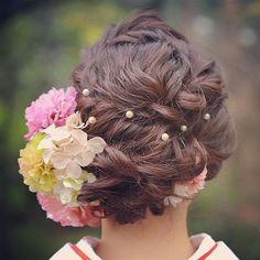 Wedding Hairstyles For Women, Cool Hairstyles, Natural Hair Accessories, Natural Hair Styles, Long Hair Designs, Hair Design For Wedding, Curly Wedding Hair, Hair Arrange, Japanese Hairstyle