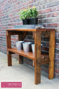 Add this simple garden bench to your outdoor space for a great multipurpose piece! Perfect for gardening, cocktail parties, and crafting!