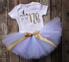 Unicorn First Birthday Tutu Outfit- Cake Smash Outfit- 1st Birthday Outfit- Unicorn Birthday- 1st Birthday Onesie- One Oneise- Photo Prop by MySweetPeaCouture on Etsy